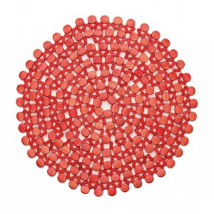 ROUND BAMBOO PLACEMAT IN CORAL, SET OF 4