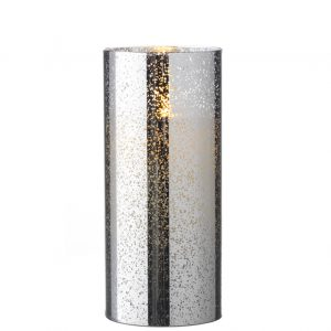 3.5 x 8 Moving Flame Flameless Silver Mercury Glass Candle