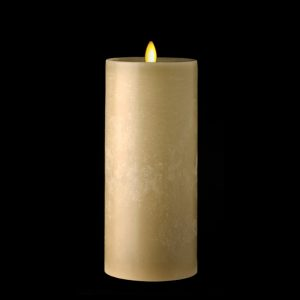 3.5 x 9 Moving Flame Flameless Taupe Pillar Candle