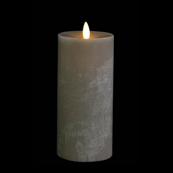 3.5 x 9 Moving Flame Flameless Grey Candle