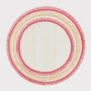 Ruffle Edge Straw Pink Placemat