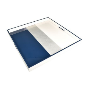 Pacific Connections Navy White Silver Large Square Tray